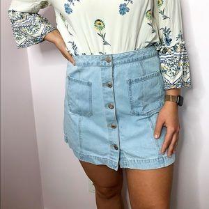 Forever 21 Plus Button Up Denim Skirt 14